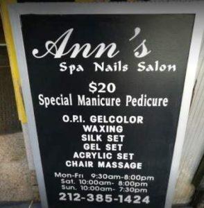 Ann Huang Nail Salon in New York City