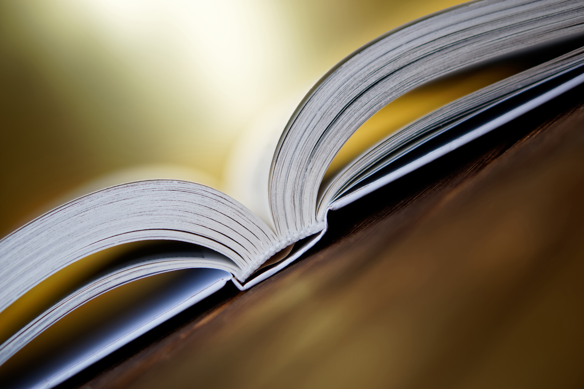 Opened book is lying on the boards on a golden background. Close-up. Diagonal composition