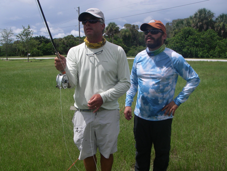 Capt Leo Henriques providing fly fishing casting instruction