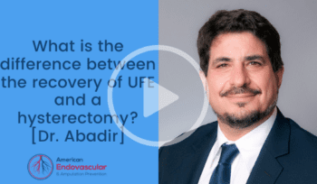 What is the difference between the recovery of UFE and a hysterectomy?