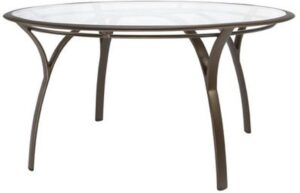 Brown Jordan 54 inch round dining table, glass top