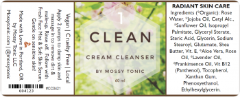 Clean Cream Cleanser Label by Mossy Tonic