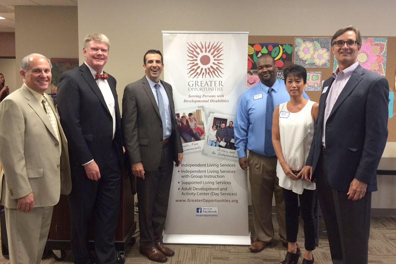 From left to right: Thomas Biagini, Board Chair; Mark Stone, Assembly Member; Sam Liccardo, Mayor-Elect, San Jose; Anthony Rowe, Director of Operations; Renee Brose, Day Program Coordinator, Craig King, Executive Director