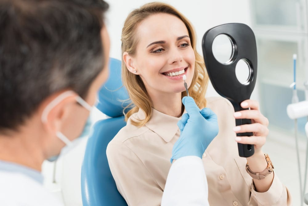 Female having dental checkup
