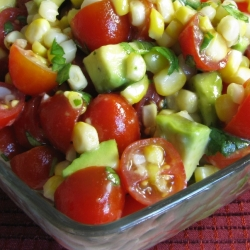 Grilled corn, tomato, avocado salad