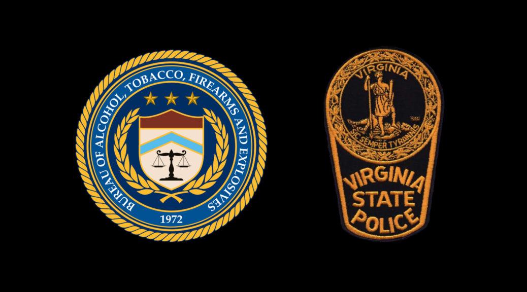 US BATFE & Virginia State Police Logos on a Black Background