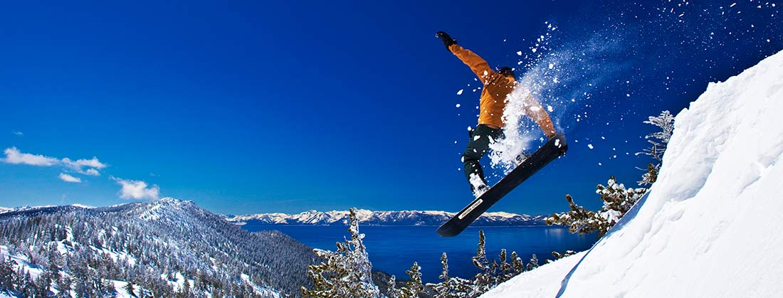 skier with lake view