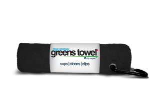 Black microfiber golf towel