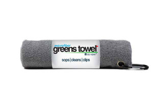 Gray microfiber golf towel