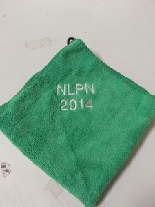 Embroidered Lettering Greens Towel
