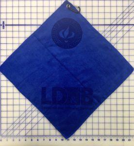 Royal blue golf towel custom two laser etch logos