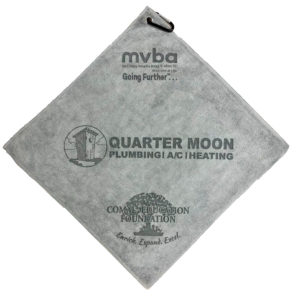Gray golf towel 3 custom laser etch logos silver