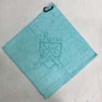 Aqua golf towel custom laser etch logo