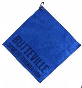 Royal blue golf towel custom laser etch logo along seam