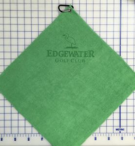 Green golf towel custom laser etch logo under clip