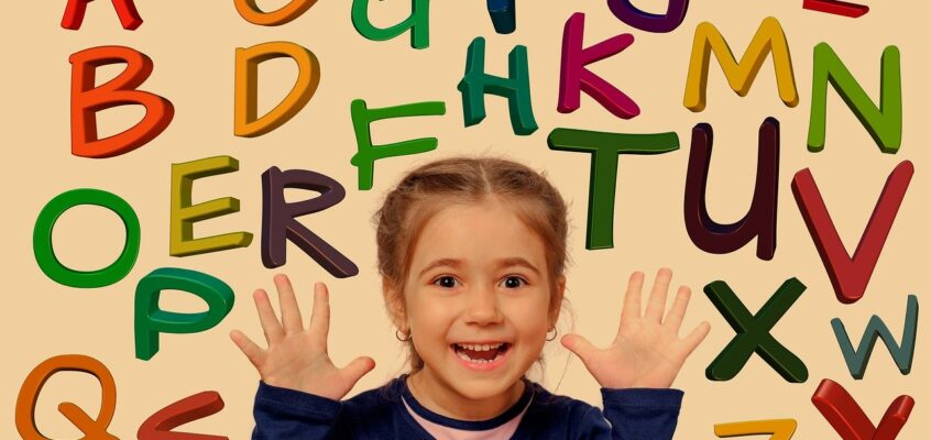 young girl with background of letters