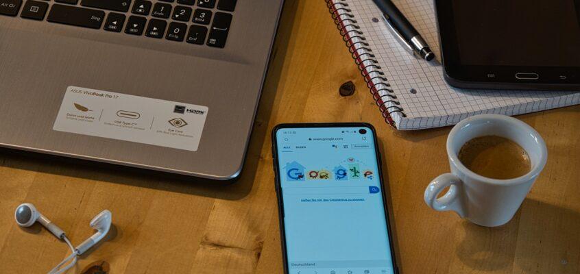laptop smartphone notebook coffee
