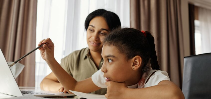 mother and child remote learning
