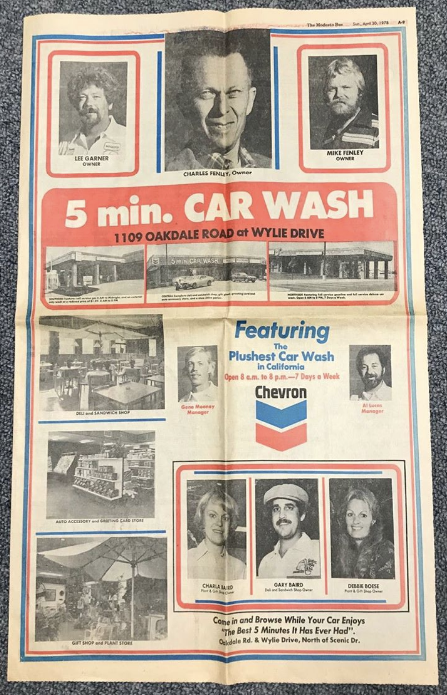 5 Minute CarWash Ad in the Modesto Bee, 1978.