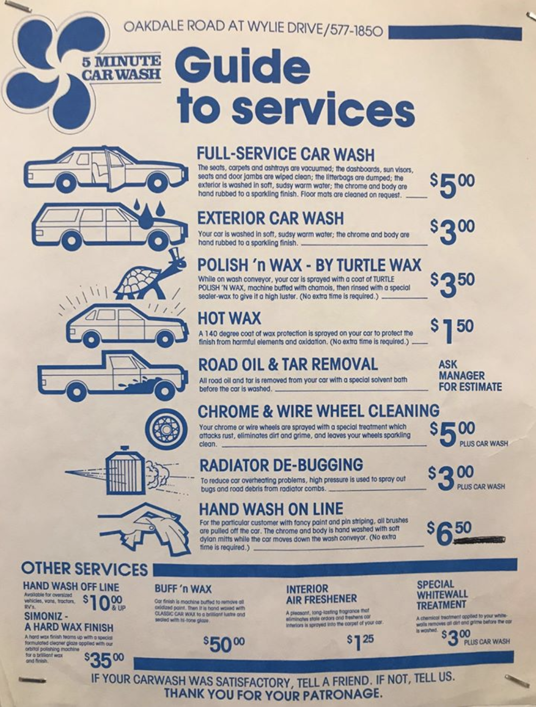 5 Minute CarWash Price Sheet, Early 1980's.