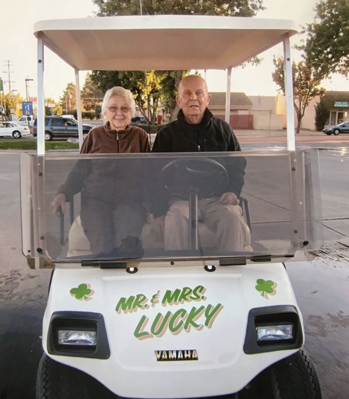 Charles Fenley and wife Ann in their golf cart, 2014. Mr. Fenley and his wife celebrated 70 amazing years of marriage!