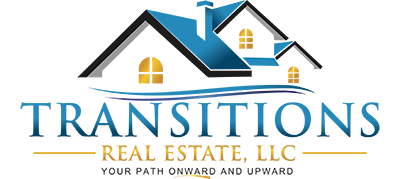 Transitions Real Estate logo with blue rooftops and gold windows, transitions under it