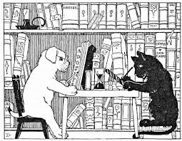 Cat & Dog Reading at Library