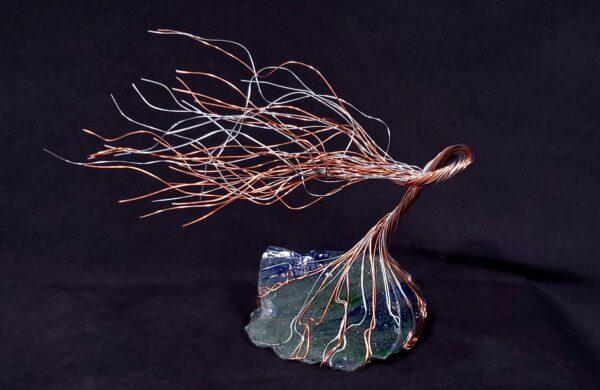 Copper Silver Wire Glass Spirit Tree Sculpture