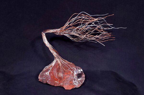 Copper Silver Wire Spirit Tree Glass Sculpture