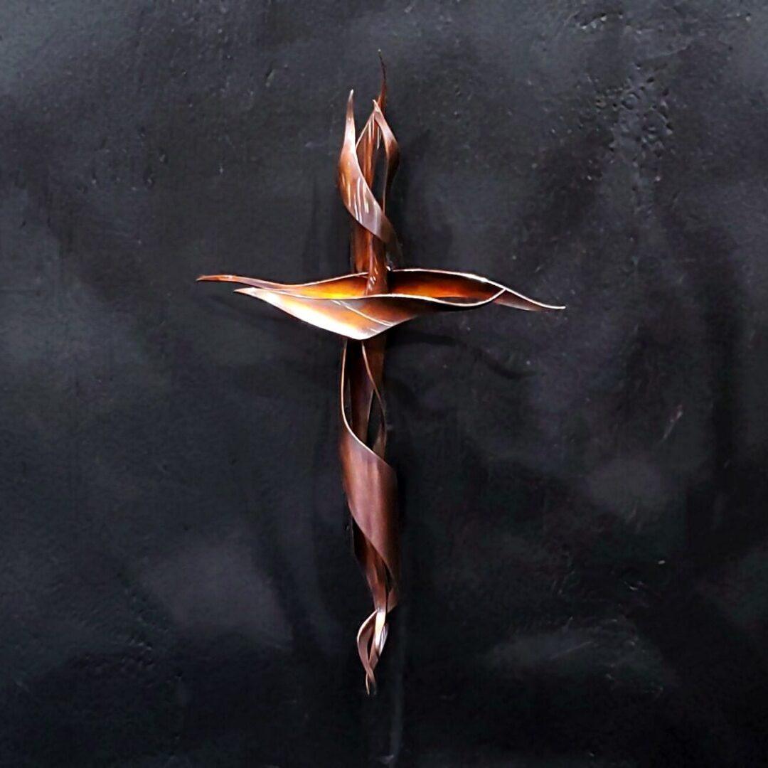 copper cross wall art