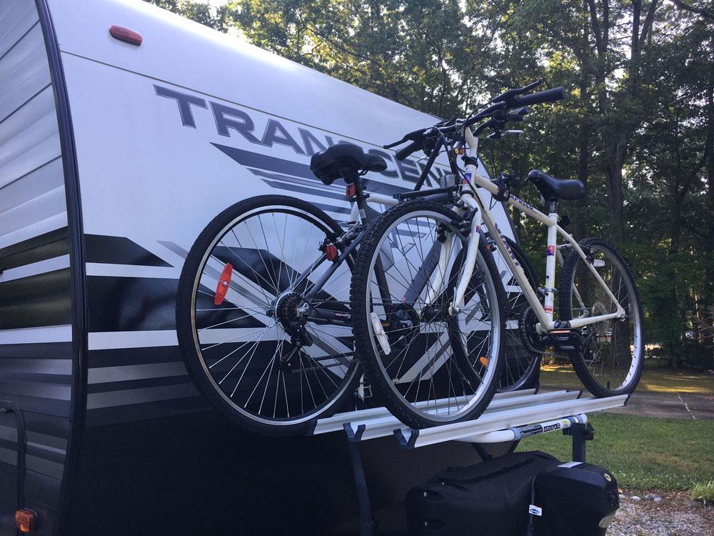 Arvika Bike Rack Mounted On Grand Design Transcend 28 MKS