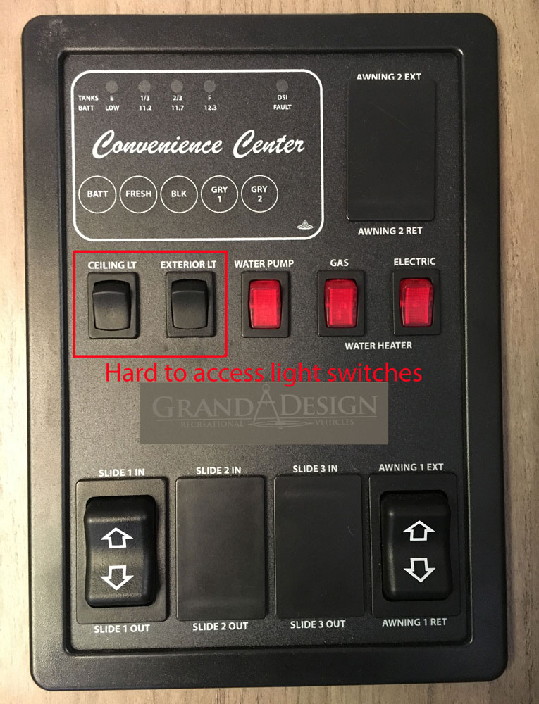 Control Panel and Light Switches Grand Design Transcend