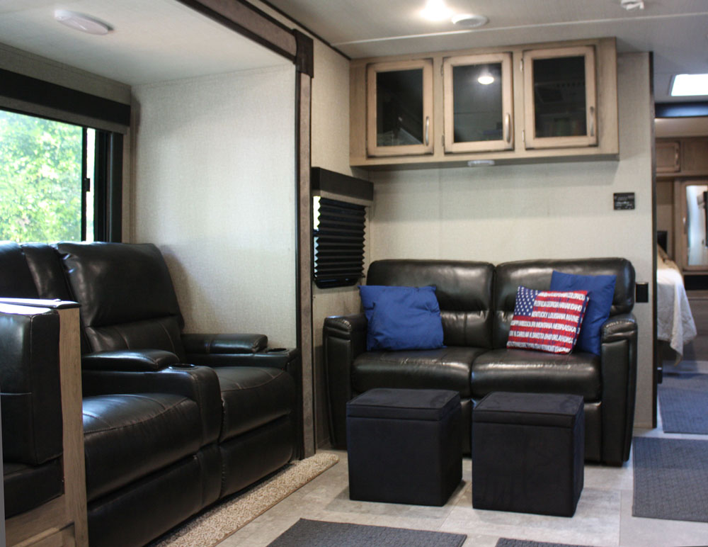 Couch and Recliners in Grand Design Transcend 28 MKS