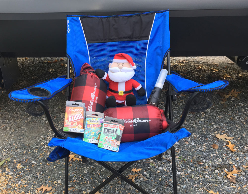 RV Camper Holiday Wish List Santa With Presents in Camp Chair