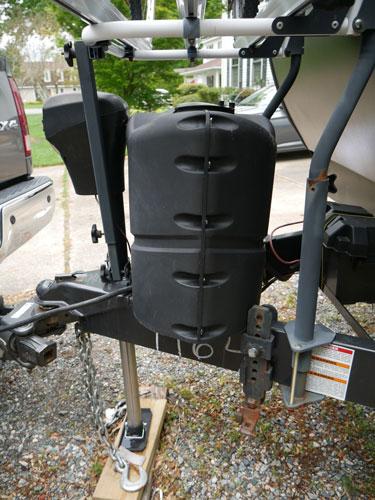 Arvika Bike Rack Mounted On Travel Trailer Side View Showing Mounting Hardware