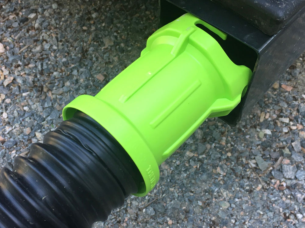 Thetford Titan RV sewer hose too large to fit in camper bumper storage