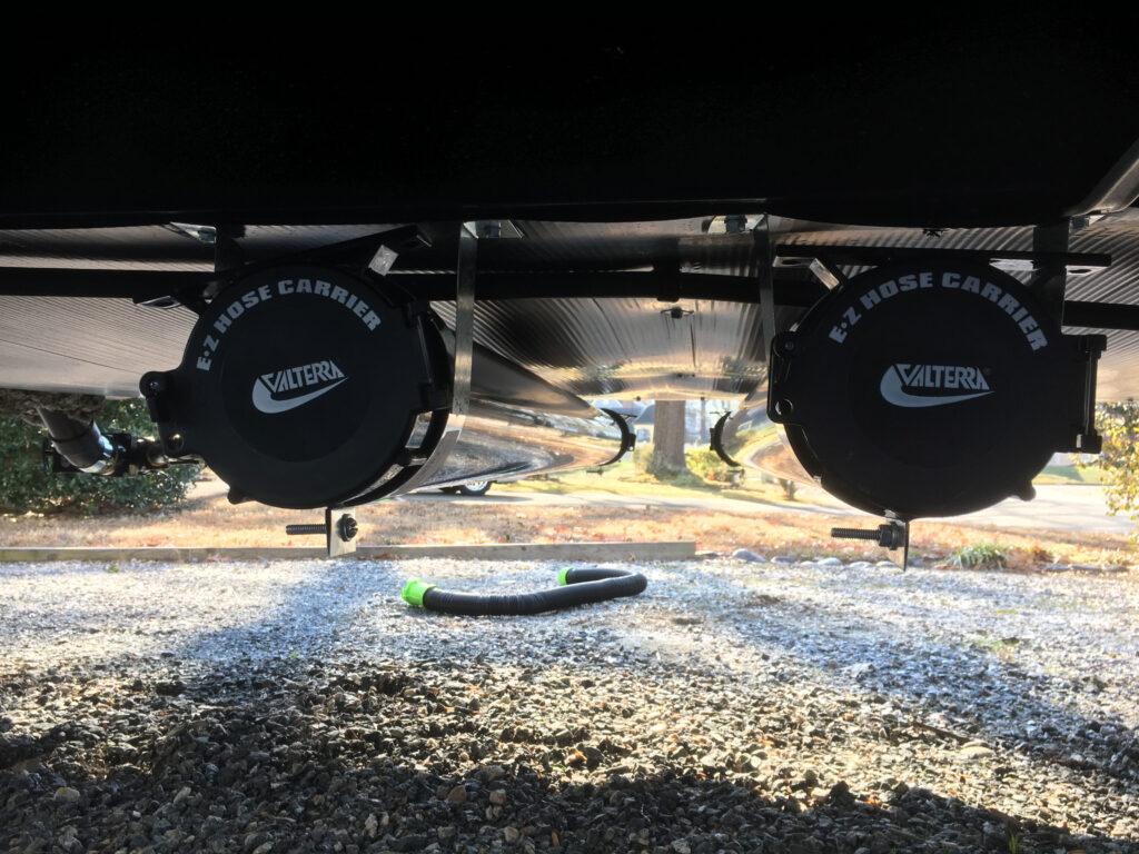 Two Mounted Velterra RV Sewer Hose Storage Tubes Provide Camper Sewer Hose Storage