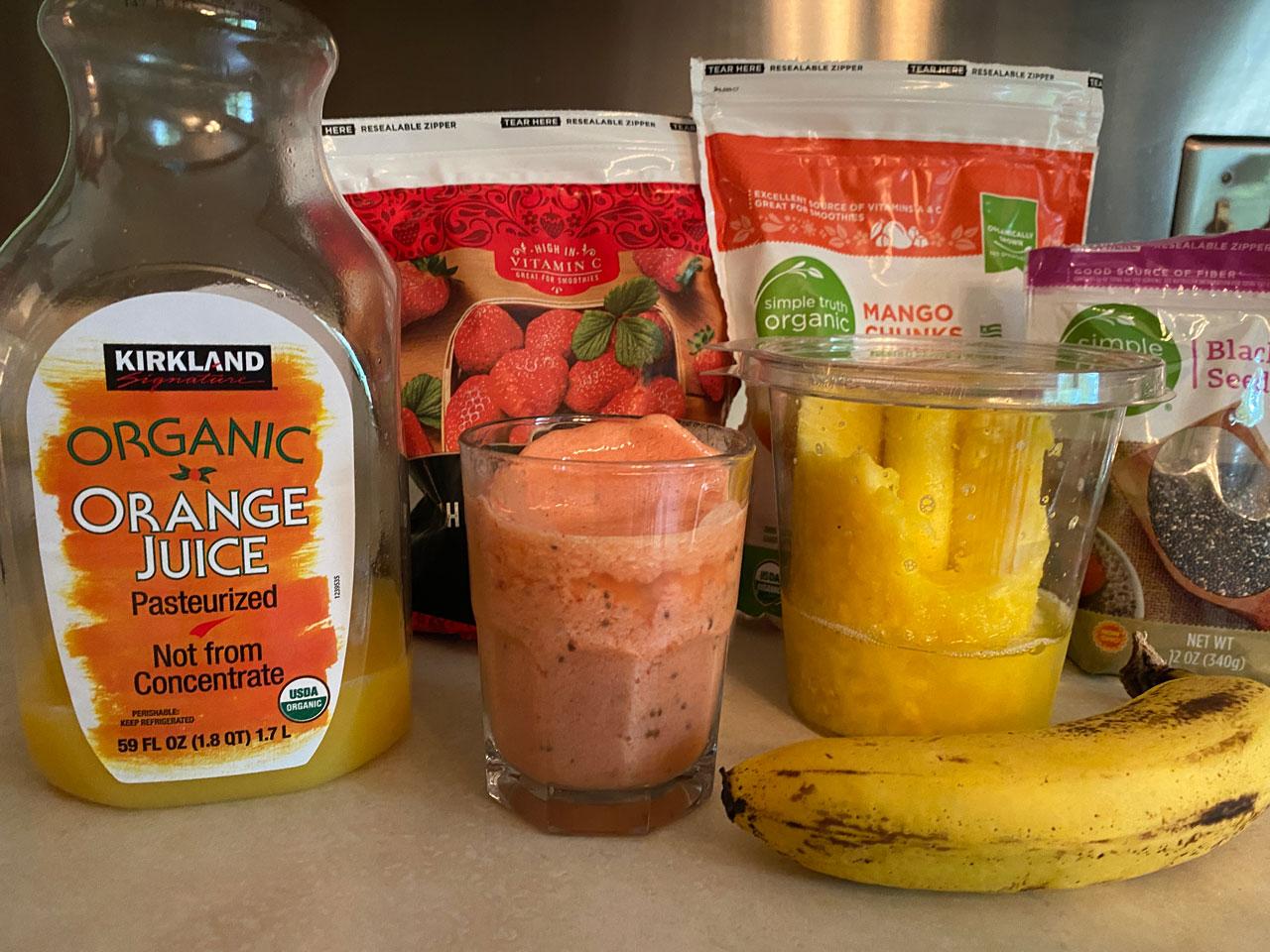 Mango Pineapple Strawberry Summer Smoothie Recipe Ingredients