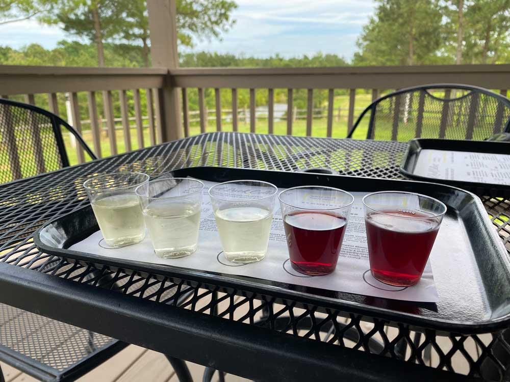 Wine Flight at Good Luck Cellars Kilmarnock Virginia