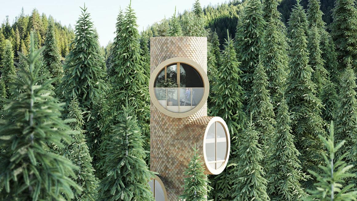 Conceito de casa pré-fabricada é inspirado na estrutura de uma árvore