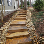 Lake PTC project_Winding Flagstone Stair Case_with River Rock border