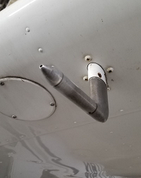 Pitot tube mounted on the wing of an aircraft