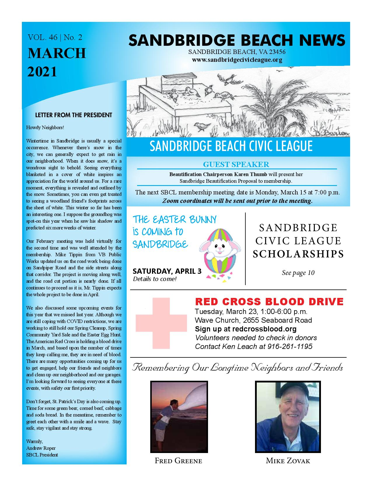 SBCL Newsletter Cover March 2021