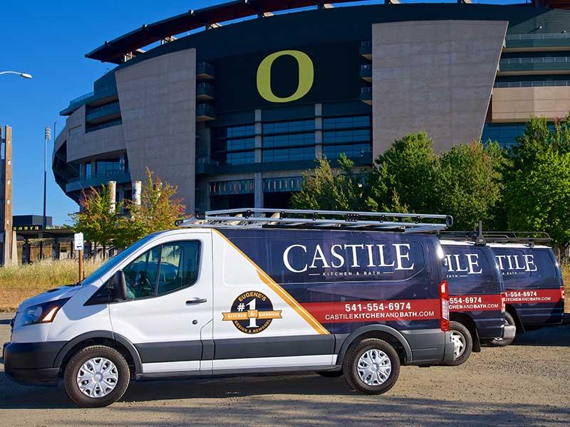Castile Kitchen and Bath Remodeling Work Trucks