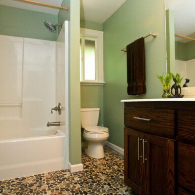 Pebble tile flooring upstairs bath