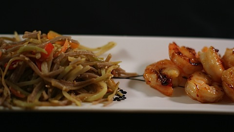 Soba Noodle Salad with Sweet and Spicy Shrimp