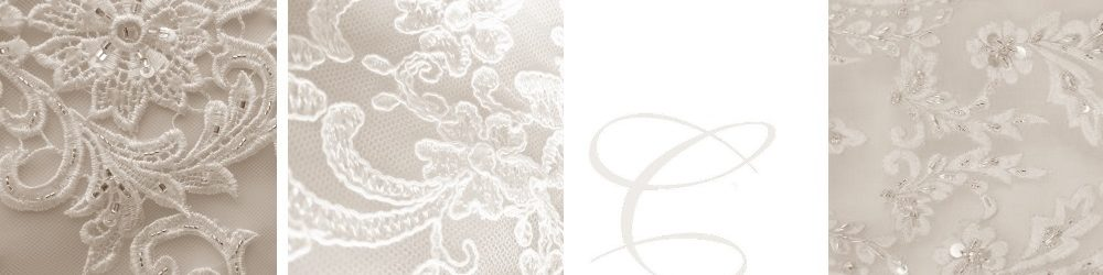 Close up of details on gowns, lace and beads, lace with sequence, lace with no embelishments