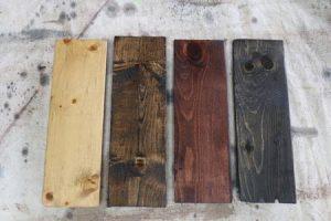Stain examples: (1) Golden Oak, (2) Dark Walnut, (3) Red Mahogany, (4) Ebony