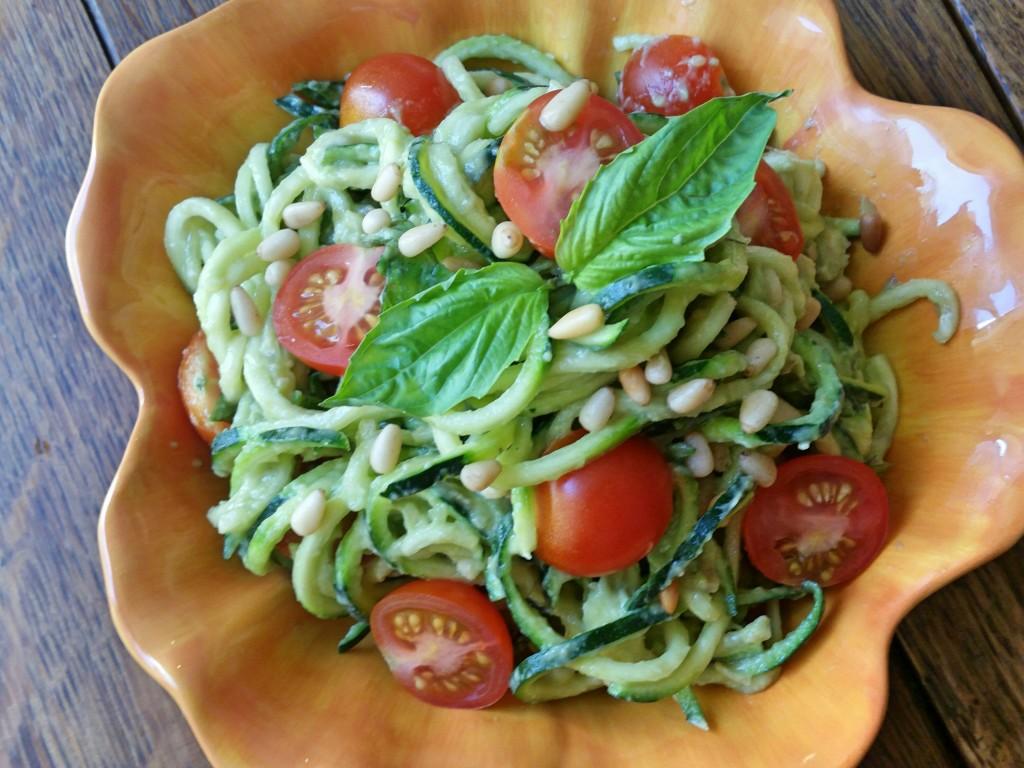Creamy Avocado Pesto + Zucchini Noodles   Clovers & Kale   Raw Vegan Recipe