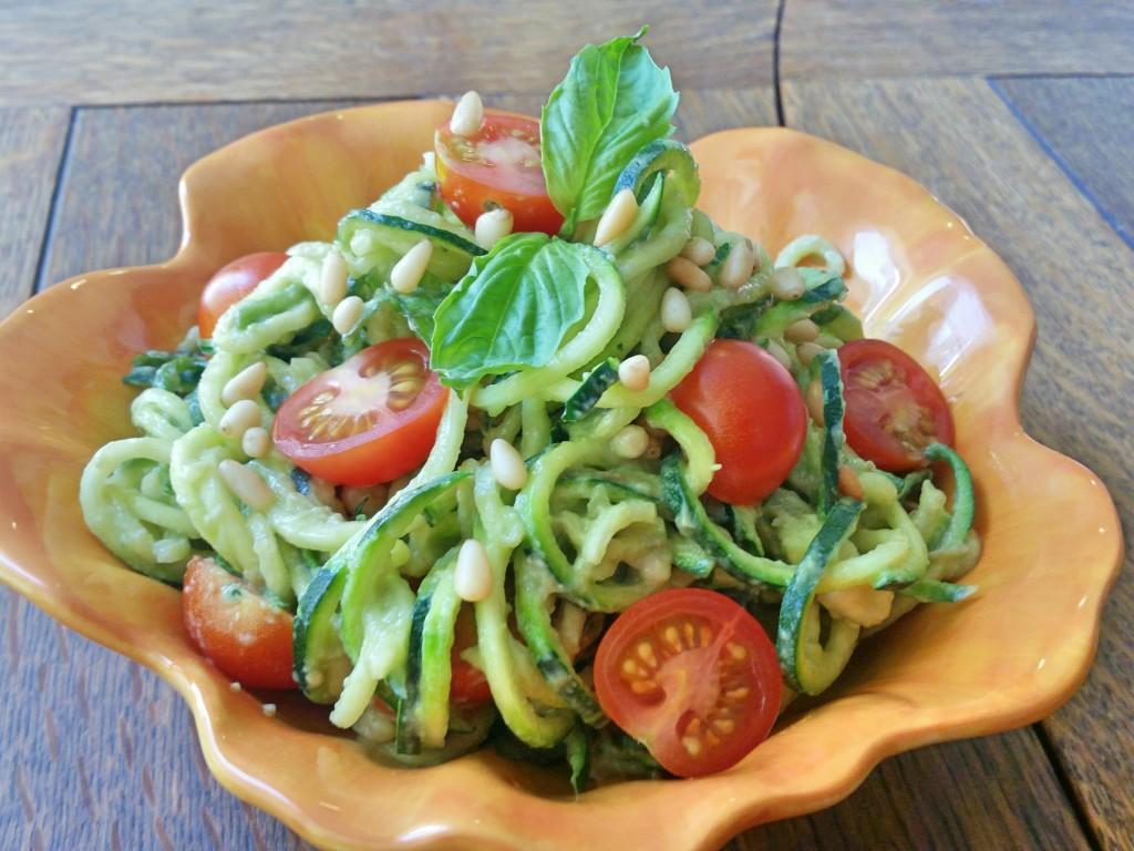 Creamy Avocado Pesto + Zucchini Noodles   Clovers & Kale   Recipe